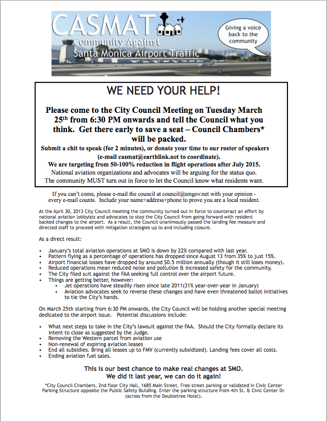 Please come to the City Council meeting – Tuesday March 25th